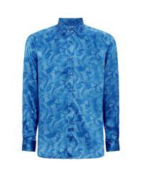 Zilli Blue Silk Logo Shirt for men