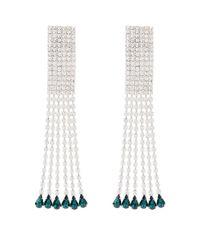 Alessandra Rich Green Crystal Fringe Earrings