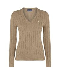Polo Ralph Lauren Brown Kimberly Cable Knit Sweater