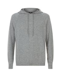 Harrods Gray Hooded Cashmere Sweater for men