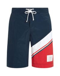 Thom Browne - Blue Diagonal Stripe Board Shorts for Men - Lyst