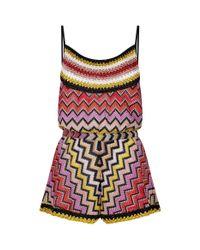 Missoni - Red Lurex Crochet Playsuit - Lyst