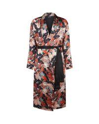 Meng | Black Printed Silk Dressing Gown for Men | Lyst