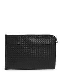 Bottega Veneta Black Leather Intrecciato Pouch for men