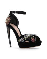 Alexander McQueen Black Horn Embellished Sandal Heels