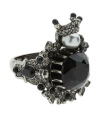Alexander McQueen - Gray Embellished Gem Ring - Lyst