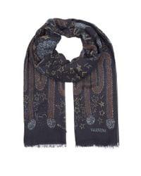Valentino - Blue Cashmere-silk Camouflage Print Shawl - Lyst