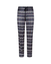 Meng Blue Printed Silk Lounge Trousers for men