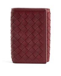 Bottega Veneta Red Leather Intrecciato Wallet