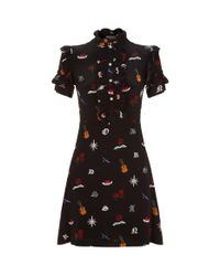 Sandro - Black Printed Ruffle Dress - Lyst