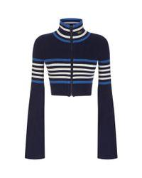 PUMA Blue Cropped Turtleneck Zip-up Sweater