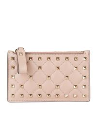 Valentino Multicolor Rockstud Spike Card Holder And Coin Purse