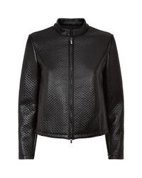 Armani Black Textured Leather Biker Jacket