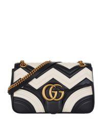 Gucci Black Marmont Chevron Shoulder Bag