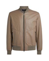 Z Zegna Natural Leather Bomber Jacket for men