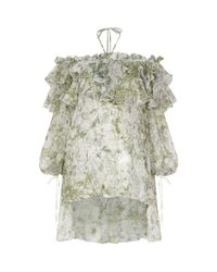 Alexander McQueen White Garden Print Off-shoulder Top