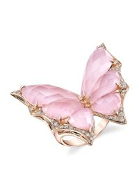 Stephen Webster - Pink Rose Gold And Diamond Fly By Night Crystal Haze Ring - Lyst