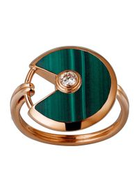 Cartier - Metallic Small Pink Gold And Malachite Amulette De Ring - Lyst