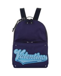 Valentino - Logo Canvasbackpack, Blue, One Size for Men - Lyst