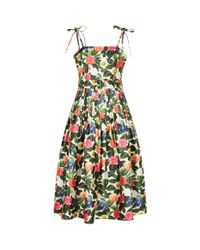 Oscar de la Renta Green Floral Ribbon Strap Dress