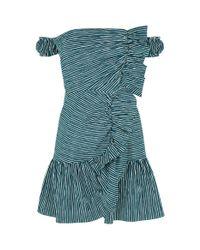 Sandro Green Off-the-shoulder Striped Dress