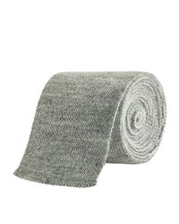 Thom Browne Gray Four Bar Stripe Knit Tie for men