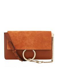 Chloé Brown Shoulder Faye Small Classic Tobacco Leather Cross Body Bag