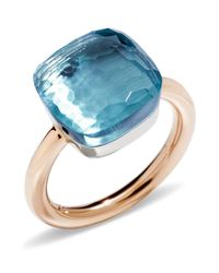 Pomellato | Nudo Maxi Ring With Blue Topaz In 18k Rose And White Gold | Lyst