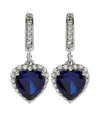 Carat* - Blue 2ct Sapphire Heart Drop Earrings - Lyst