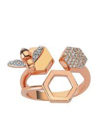 Bee Goddess - Metallic Diamond Honeycomb Open Ring - Lyst