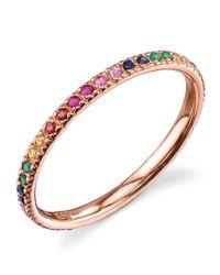 Sydney Evan - Metallic Rose Gold Rainbow Ring - Lyst
