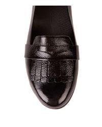 Fitflop Black Fringey Sneakerloafer™ Patent Leather Kiltie Detail Slip On Flats