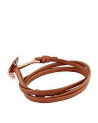 Miansai - Brown Leather Wrap Anchor Bracelet - Lyst