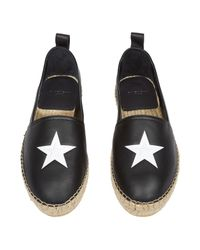 Givenchy - Black Star-embossed Leather Espadrilles for Men - Lyst