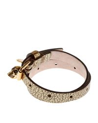 Alexander McQueen - Metallic Double Wrap Leather Skull Bracelet - Lyst