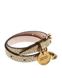 Alexander McQueen | Metallic Double Wrap Leather Skull Bracelet | Lyst