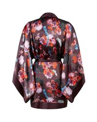 Meng - Red Floral Printed Short Silk Kimono - Lyst