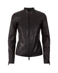 Reiss - Black Adalie Croc Effect Leather Jacket - Lyst