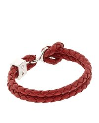 Burberry | Red Braided Leather Bracelet | Lyst
