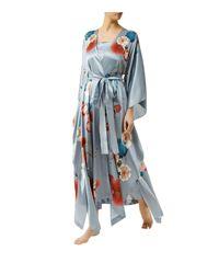 Meng - Metallic Bird Floral Print Silk Wrap Robe - Lyst