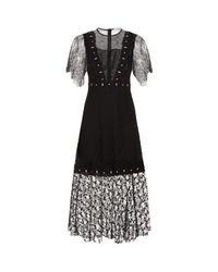 Sandro - Black Embellishedlace Dress - Lyst