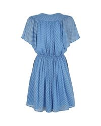 Claudie Pierlot Blue Polka-dot Ruffle Dress