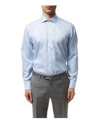 Turnbull & Asser - Blue Mini Houndstooth Stripe Slim Fit Shirt for Men - Lyst
