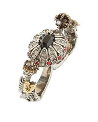 Alexander McQueen - Metallic Embellished Double Skeleton Ring - Lyst