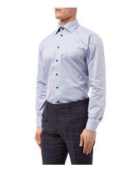 Eton of Sweden - Blue Herringbone Weave Slim Fit Shirt for Men - Lyst