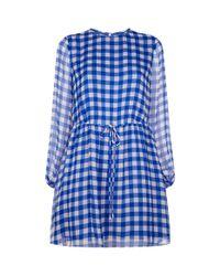 Diane von Furstenberg - Blue Gingham Wrap Dress - Lyst