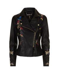 Ted Baker Black Andraya Leather Biker Jacket