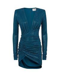 Alexandre Vauthier Blue Crystal-embellished Ruched Mini Dress