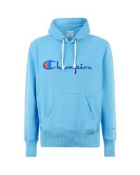 Champion Blue Logo Embroidered Hoodie for men