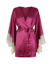 Gilda & Pearl | Purple Bloomsbury Lace Trimmed Silk Kimono | Lyst